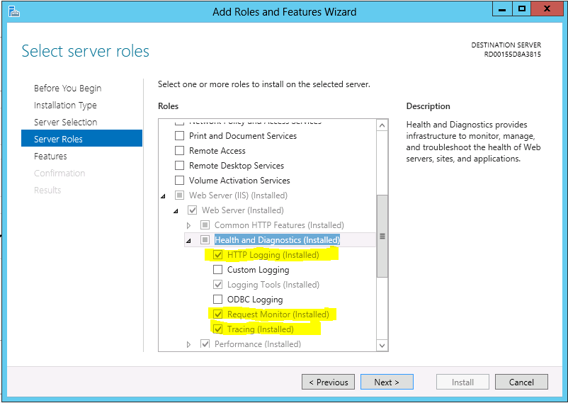 Installing default IIS features required for LeanSentry